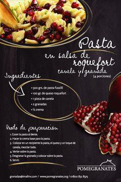 Pasta con salsa roquefort, canela y granadas #imalinx