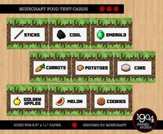 Minecraft Food Tent Cards - Digital Download - Designed by 1904 Design Studio by 1904DesignStudio on Etsy https://www.etsy.com/listing/195751137/minecraft-food-tent-cards-digital