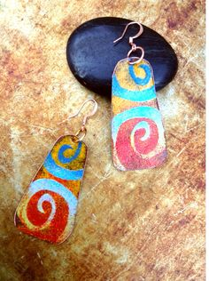 Bright Colored Tribal Copper Enamel Earrings by ChristensenStudio, $30.00