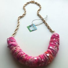 Pink fusion shibori felt necklace.