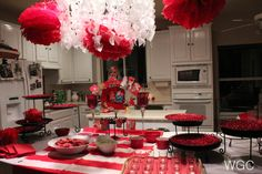 Table Decor for a RED Valentine's Party
