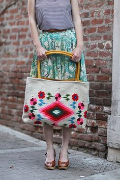Vintage bag and skirt. Love on many levels.