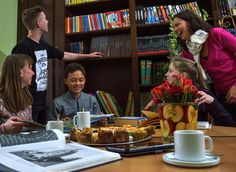 Our Director Natalia Backhaus has been deeply involved in every stage of Germany For Kids. Here she is spending time and sharing jokes with older guests during their free / social time....cakes and hot drinks in our library.