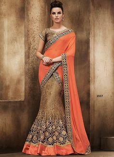 Rozdeal Fancy Brown And Orange Lehenga Saree. STYLE: Designer Saree FABRIC: 60gm Georgette, Rasal Net WORK: Embroidered, Print COLOUR: Orange, Brown OCCASION: Party, Wedding, Festival, Reception Blouse Fabric : BANARASI Inner Fabric : Satin Saree Size:- 5.50 mtr Blouse Size:-0.80 mtr