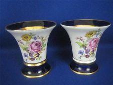 Pair of Royal Dux Bohemia Floral Design Porcelain Decorative Trumpet Vases