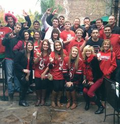 Louisville fans hanging out on Bourbon St. before their Louisville Cardinals played in the Allstate Sugar Bowl