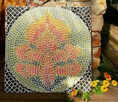 Lotus flower mosaic by Jo Holmwood.