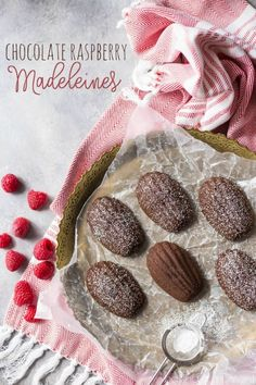 Chocolate Raspberry Madeleines: these little cakes are so perfect for a special occasion! Taste like a cake-y brownie, with a fresh raspberry baked inside. The shell shape couldn't be prettier! #BakeYourPassion #sponsored @whitelilyflour