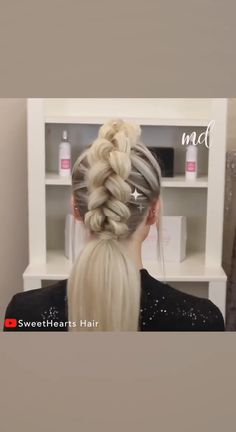 Two braids in one - that never crossed my mind! By: Two braids in one - that never crossed my mind! Hairstyles For Medium Length Hair Easy, Braids For Short Hair, Hairstyles For School, Medium Hair Styles, Braided Hairstyles, Wedding Hairstyles, Curly Hair Styles, Messy Hairstyle, Female Hairstyles