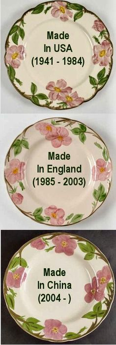 My grandmother had this matter when I was young. There is NO comparison the pieces made in the USA and those made in China. If you are thinking of starting or adding to this pattern, I really recommend sticking with those vintage pieces made in the USA. Antique Dishes, Vintage Dishes, Vintage China, Vintage Kitchen, Desert Rose Dishes, Franciscan Ware, Vintage Dinnerware, China Patterns, Vintage Pottery