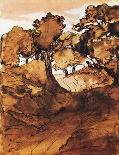 apoetreflects: Drawing: Edgar Degas, Landscape, n.d.