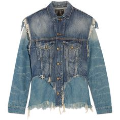 R13 Layered distressed denim jacket (3.130 HRK) ❤ liked on Polyvore featuring outerwear, jackets, mid denim, blue jackets and distressed denim jacket