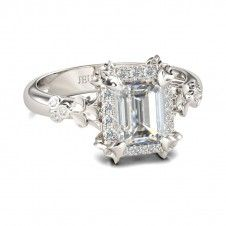 Jeulia Flower Design Halo Radiant Cut Created White Sapphire Engagement Ring