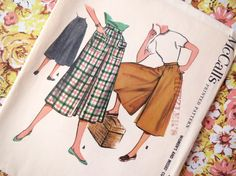 1950s Womens Wide Culottes Pattern  Vintage by ErikawithaK on Etsy, $8.00