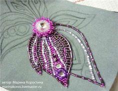 Вышитый бисером цветок колье Весенная Рапсодия - Ярмарка Мастеров - ручная работа, handmade