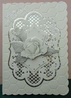 Wedding anniversary card by: craftypam by oldrose Wedding Cards Handmade, Beautiful Handmade Cards, Greeting Cards Handmade, Pretty Cards, Love Cards, Wedding Anniversary Cards, Card Wedding, Marianne Design Cards, Tattered Lace Cards