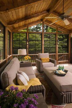 Eze-Breeze porches - Atlanta Decking & Fence Company Screened Porch Designs, Backyard Patio Designs, Outdoor Rooms, Outdoor Living, Cottage Design, House Design, Porch Interior, Four Seasons Room, Three Season Porch
