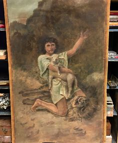 "Antique Oil On Canvas Painting of Man With Sheep and Lion   30"" Wide x 45.5"" High   $250  Country Garden Antiques 147 Parkhouse  Dallas, TX 75207"