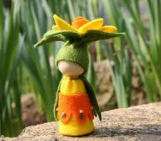 cute daffodil felt person