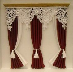 Dollhouse Curtain ~ Wide Royal Red and White Lace Curtains Vitrine Miniature, Miniature Houses, Miniature Dolls, Lace Curtains, Curtains With Blinds, White Curtains, Drapery, Valance, Miniature Furniture