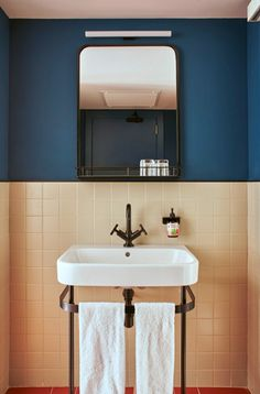 hotel bathroom Designed by Studio Tack, Casa Bonay opened last month as a first-of-its-kind hotel in the restored c Barcelona mansion of the Bonay family. Bathroom Design Inspiration, Bad Inspiration, Bathroom Interior Design, Design Ideas, Hotel Design Interior, Interior Ideas, Interior Livingroom, Peach Bathroom, Bathroom Colors