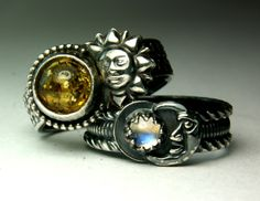 Sterling Silver Bohemian Wedding Set, Baltic Amber Rainbow Moonstone Ring, Sun and Moon, Unique Jewelry rings