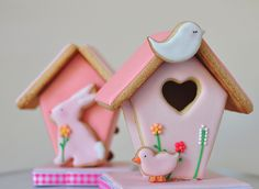 GINGERBREAD HOUSE~ Pink spring gingerbread birdhouse