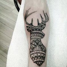Or a deer mandala. | 49 Bloody Brilliant Black And Grey Tattoo Ideas