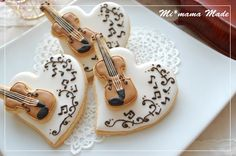 Musical heart cookies with violin cutout. Cute!