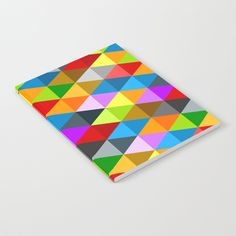 Geometric Modern bright funky colorful triangles pattern Notebook by #PLdesign #ColorfulTriangles #style #school @society6