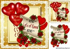 Hearts   Roses on a scroll with balloons 8x8 on Craftsuprint - View Now!