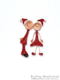 Christmas  Card - Quilled Merry Kissmas holiday card cute paper quilling: