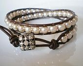 Leather Wrap Champagne Faux Pearls Filigree Button