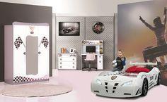 Kinderzimmer Police 3-tlg weiß glänzend Autobett Police mit Spoiler - Mit LED Beleuchtung