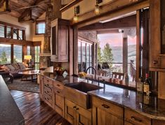Rustic Ranch House in Colorado Opens to the Mountains - . - Rustic Ranch House in Colorado Opens to the Mountains – # opens - Chalet Design, Cabin Design, Log Cabin Homes, Log Cabin Kitchens, House Goals, Style At Home, Rustic Farmhouse, Kitchen Rustic, Open Kitchen