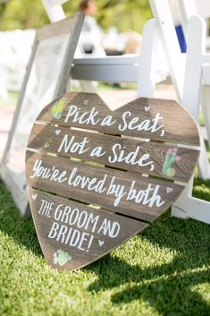 "| wedding ceremony seating sign | ""pick a seat, not a side, you're loved by both the groom and bride!"" 