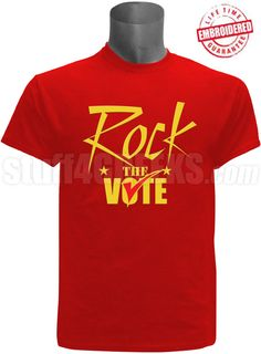 "Red embroidered ""Rock The Vote"" election t-shirt. $50.00"