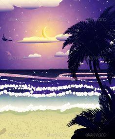 Night beach ...  background, beach, blue, climate, cloudscape, coast, crescent, dark, dusk, full, hawaii, hill, horizon, illustration, island, land, landscape, light, moon, mountain, nature, ocean, palm, sand, scene, sea, seacoast, shore, silhouette, sky, slope, south, summer, sun, sunset, tranquil, travel, tree, tropical, vacation, water, wave
