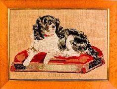 Victorian needlework of spaniel