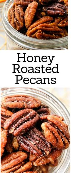 Honey Roasted Pecans Honey Roasted Pecans These Honey Roasted Pecans use simple ingredients and take less than 20 minutes to roast! Honey Roasted Pecans, Spiced Pecans, Roasted Nuts, Candied Pecans, Toasted Pecans, Easy Roasted Pecans Recipe, Pecan Recipes, Honey Recipes, Copycat Recipes