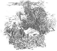 Sketch of vegetable garden in snow by Peter Davey