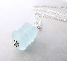 Sea Glass Necklace Seaglass Necklace Cairn Ocean by LunasLuxe