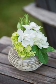Gardenia, hydrangea in wire container.  In bloom, ltd.