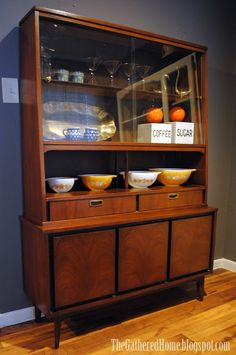 Mid-Century Modern Garrison China Cabinet - The Gathered Home Just like mine. Modern China Cabinet, China Cabinet Redo, Modern Cabinets, China Cabinets, Cupboards, Mid Century Bar, Mid Century House, Mid Century Design, Mid Century Modern Decor