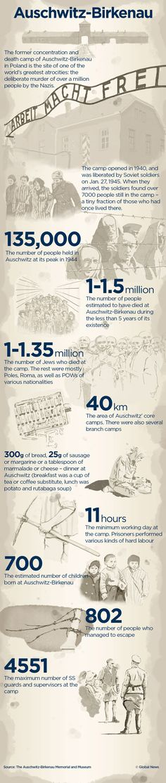 Infographic: Auschwitz by the Numbers.  Today marks the 70th anniversary of the liberation of the Auschwitz-Birkenau concentration camp.