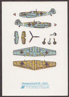 X4499 Airplane, Military Cut out postcard, Messerschmitt Bf-109 E, Propacteam