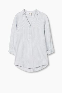 Size information:  -Centre back length approx. 72 cm (in size 12, can vary according to size)  Details:  -This casual, slightly fitted shirt blouse in flowing fabric with a fine striped pattern has got what it takes to be your new favourite. -The open shirt collar flows into a button placket with delicate broderie anglaise. -To vary the look, the long sleeves with narrow one-button cuffs can be rolled up and secured with a button and strap. -The rounded hem emphasises the casual style.