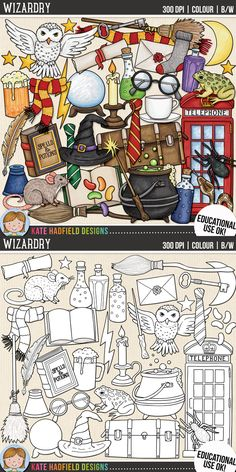 Witch and Wizard Clip Art for teachers by Kate Hadfield Designs | Teachers Pay Teachers. Supplied in both hand-painted coloured versions and black and white outlines!