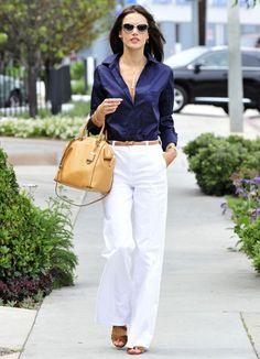 Alessandra Ambrosio Street Style Calça Pantalona