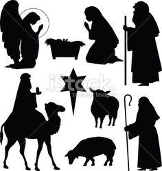 Christmas Nativity Silhouettes Royalty Free Stock Vector Art Illustration